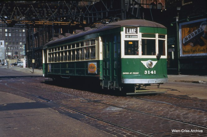 CTA 3141 at Franklin and Lake on October 19, 1952.