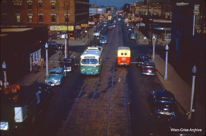 CTA trolley bus 225 at 51st and Calumet on July 3, 1950, on the 51st-55th line.