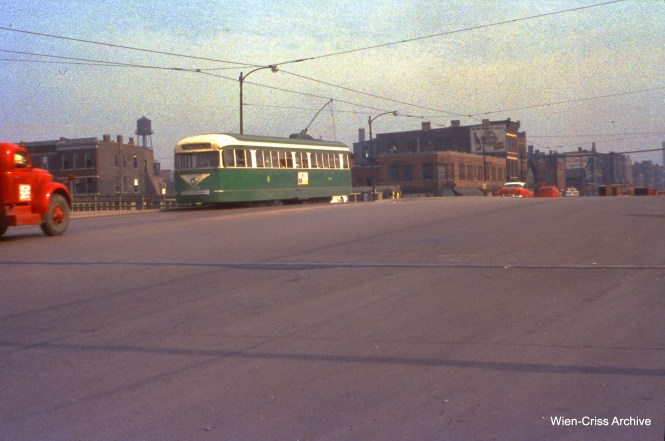 CTA 7012 at Western and Congress, crossing over the new expressway, on June 11, 1956. (Wien-Criss Archive)