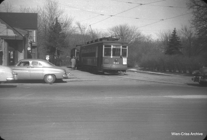 CTA 542 is a Milwaukee Avenue car, at the north end of the line near Devon on March 25, 1951. (William C. Hoffman Photo, Wien-Criss Archive)