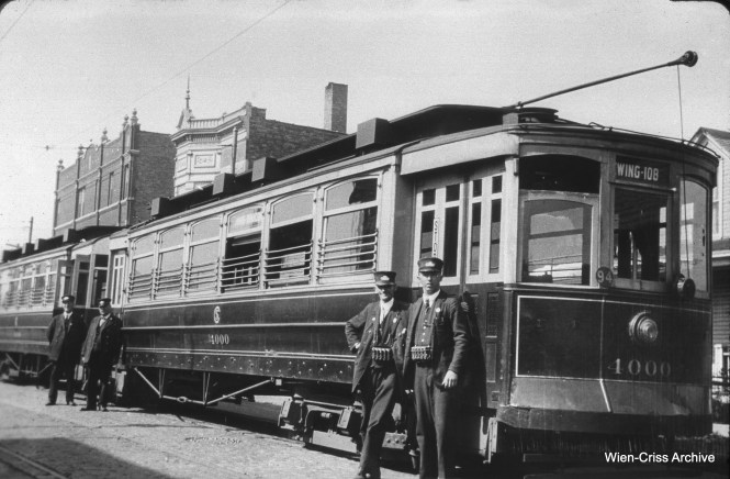 "In the 1920s, CSL experimented with an articulated streetcar, here numbered 4000, made from two other cars. The experiment did not catch on. Don's Rail Photos adds, ""4000 was built by St Louis Car Co in 1903 as Chicago Union Traction Co as 4633 and 4634. They were renumbered 1104 and 1105 in 1913 and became CSL 1104 and 1105 in 1914. They were renumbered 1101 and 1102 in 1925. They were rebuilt as an articulated train using a Cincinnatii Car steel vestibule drum between the bodies. It was completed on August 3, 1925, and scrapped on March 30, 1937."" (William C. Hoffman Collection, Wien-Criss Archive)"