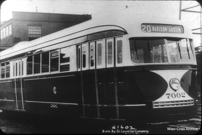 CSL 7002, built by St. Louis Car Company in 1936. This was part of a series of 83 cars that ran for just short of 20 years. Why 83 cars? I recall there was a concurrent order for 17 trolley buses. The overall order was for 100 new vehicles, with 5/6th being streetcars. (William C. Hoffman Collection, Wien-Criss Archive)