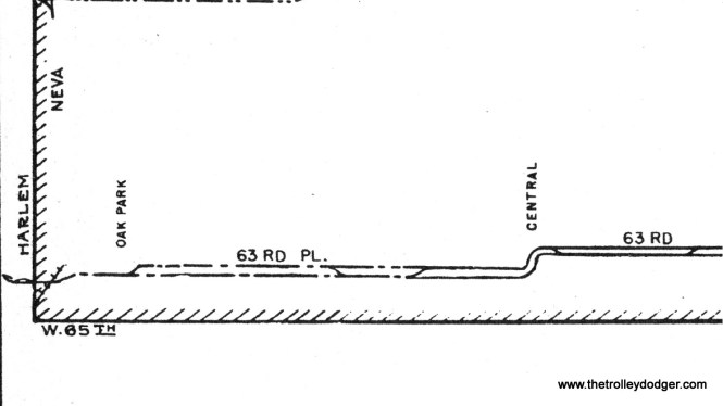 The track arrangement on 63rd Place prior to 1948, taken from the 1941 CSL track map. There were two tracks to Oak Park Avenue, and single track west of there. Since the Argo shuttle had to cross a railroad, that means it had to have a two-man crew. It appears the shuttle crossed Harlem into nearby Summit (the area known as Argo) for its western terminal.