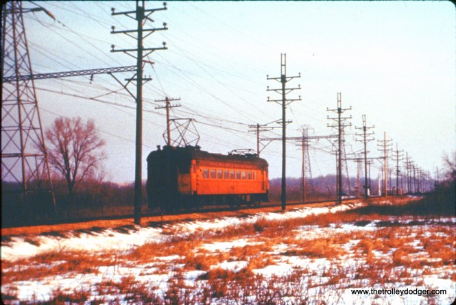 SSL train 9 is near the county line between Porter and La Porte at US 12 just west of Michigan City on December 26, 1963. (John D. Horachek Photo, William Shapotkin Collection)