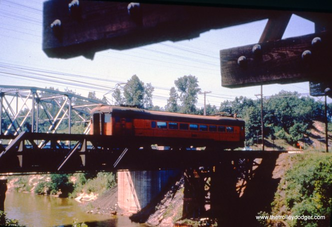 SSL car 110 (train 15) is on the bridge at Burns Ditch on June 13, 1963. (John D. Horachek Photo, William Shapotkin Collection)