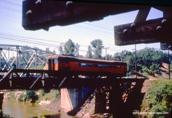 SSL car 110 (train 15) is on the bridge at Burns Ditch on June 13, 1963. (John D. Horachek Photo, William Shapotkin Collection)