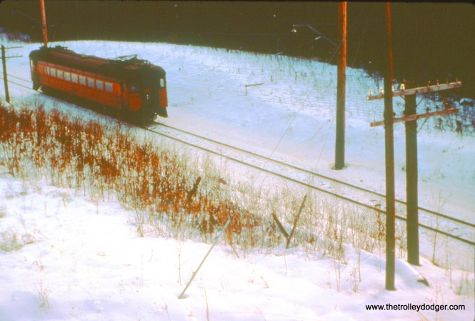 Car 100 (train 18) is 22 miles from South Bend at Smith on December 26, 1963. (John D. Horachek Photo, William Shapotkin Collection)