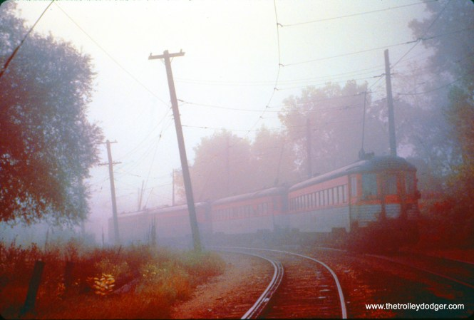NSL train 404, with cars 764, 775, 768, and 761 approaches North Chicago Junction on October 6, 1962. (John D. Horachek Photo, William Shapotkin Collection)