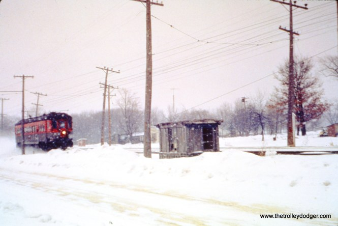 NSL train 414 (car 746), is southbound at Piper's Road, the county line between Racine and Kenosha on February 10, 1962. (John D. Horachek Photo, William Shapotkin Collection)