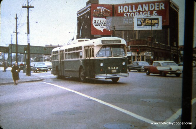CTA 9440, working an eastbound on Route 74 - Fullerton, is crossing Milwaukee Avenue on November 12, 1967. (William Shapotkin Collection)
