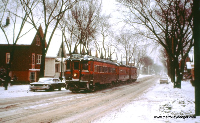 In January 1963, NSL train 420, comprising cars 775, 737, and 750, heads south on 5th near Lincoln in Milwaukee. (John D. Horachek Photo, William Shapotkin Collection)