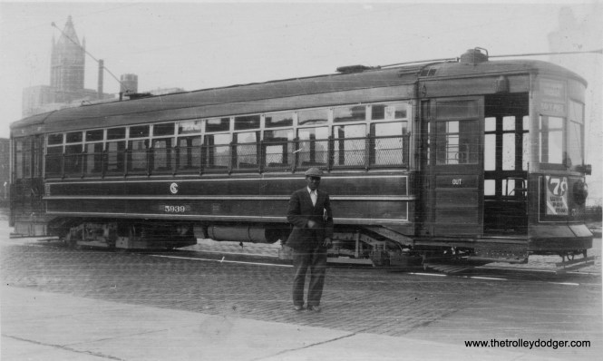 Chicago Surface Lines car 5939, presumably at Navy Pier, end of the line for the Stony Island route. The streetcar has an NRA sign, (referring to the National Recovery Act) which would date this picture to circa 1933-35.