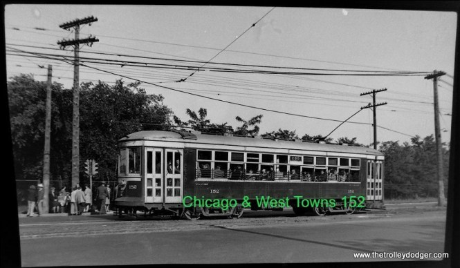 C&WT 152 on the LaGrange line, signed for the Brookfield Zoo.