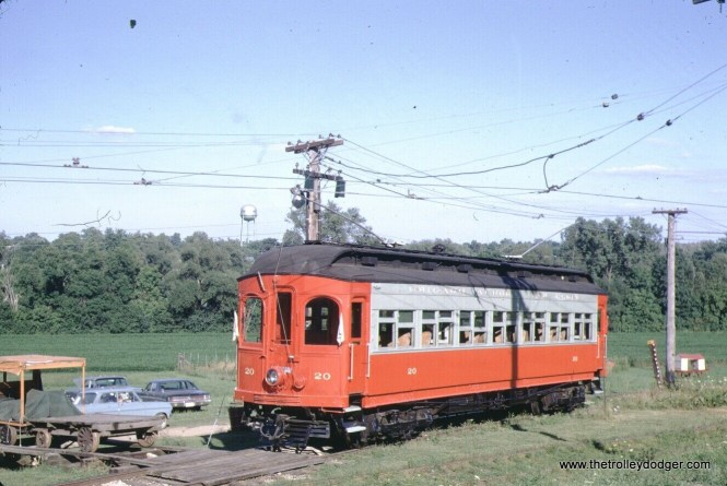 Chicago Aurora & Elgin car 20 in South Elgin in August 1968. This is now called the Fox River Trolley Museum. It's original name was RELIC.