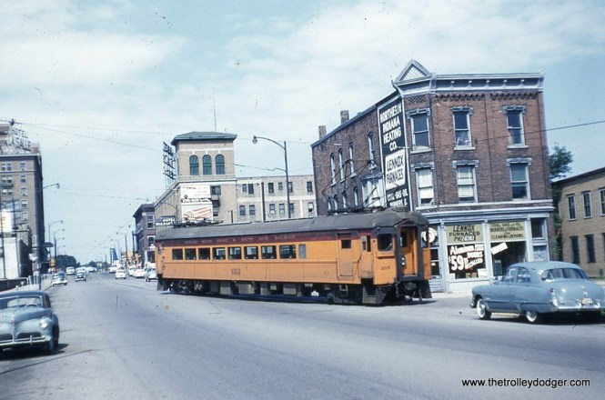 South Shore Line car 105 in South Bend, near the end of the line, in August 1955. Service was cut back to the outskirts of town in 1970, but there are plans to bring the line back downtown, although not via street running.
