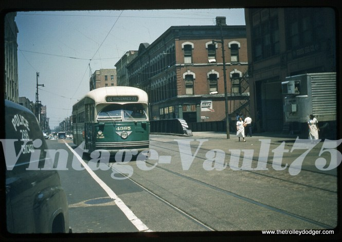 A 1958 date means this picture of a CTA PCC on Route 22 was taken on the last remaining streetcar line in Chicago, Wentworth. It is headed south. A few people have pointed out that 4385 is headed south on Clark Street, just north of the Chicago River, after passing over freight tracks.