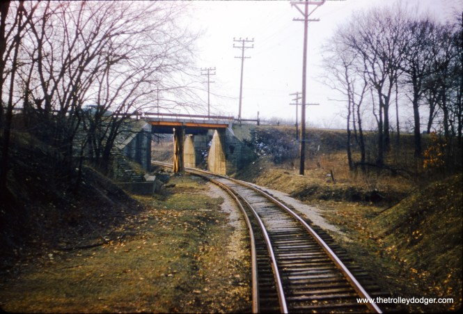 Here is what a portion of the CA&E Batavia branch right of way looked like on March 28, 1957.