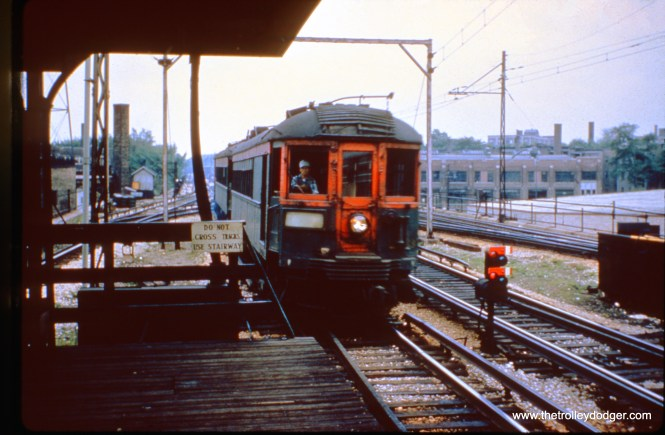 A northbound North Shore Line train at Howard Street.