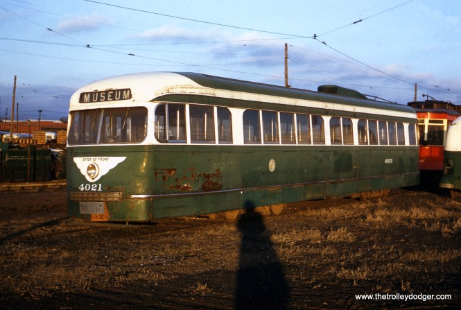 CTA prewar PCC 4021, the only survivor of 83 such cars, as it appeared in January 1960, three-and-a-half years after it was retired. The red streetcar behind it is presumably 460. Both cars were saved by the CTA for many years, and are now at the Illinois Railway Museum.