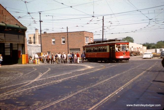CTA 144 at 77th and Vincennes on May 25, 1958. The occasion was the final streetcar fantrip in Chicago, less than a month before the last line (Wentworth) was converted to buses. (J. W. Vigrass Photo)