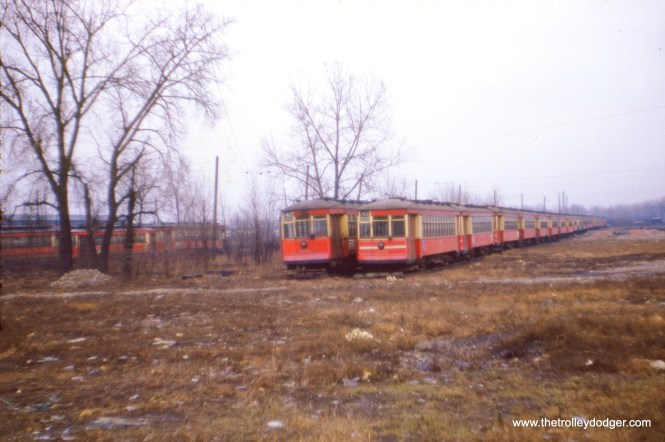 CTA red cars on the scrap line in 1954. (J. W. Vigrass Photo)
