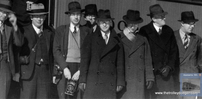 A close-up of the previous picture. I believe the gentleman at center is a young George Krambles, CERA Member #1, then in his early 20s.