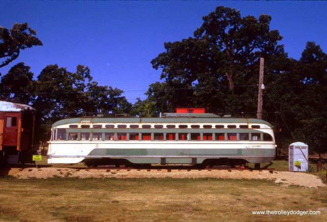 SF Muni PCC 1030 at the Fox River Trolley Museum on June 20, 1992.