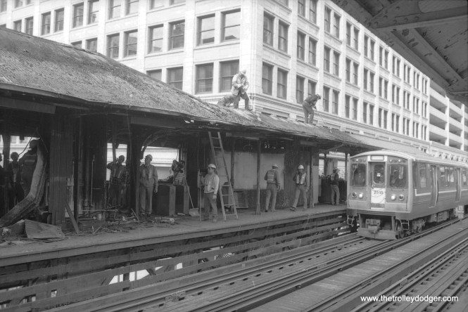 In this, and in the pictures that follow, it looks like demolition work is taking place at State and Lake, in conjunction with renovations at this station. Not sure of the date, but with 2400s in the picture, it can't be earlier than 1976.