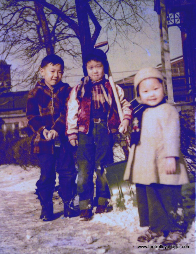 """(This and the next picture) Danny Yoshida, Ross Harano and his sister Cathy In March 1951. Ross writes, """"Danny is on the left. He lived on Lake Park and 38th and was a classmate at Oakenwald until he moved to 45th and Lake Park."""" (Both courtesy of Ross Harano)"""