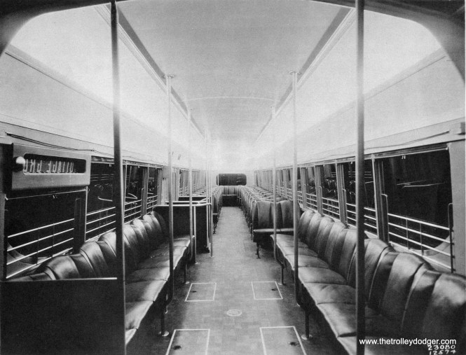 Through a process of elimination, it can be determined that this is a rare photo of the interior of experimental CSL pre-PCC car 7001, built by Brill in 1934. The Cottage Grove destination sign means we are in Chicago, and the seat configuration is different than the 1936 PCCs. The flat back window means this is not the 4001, so this is the 7001 for sure. Interestingly, the seats looks nearly identical to those found in Washington DC pre-PCC 1053 (see the following picture). The Washington cars were built in 1935 and while the order was split between Brill and St. Louis Car Company, the seats were most likely sourced from a third vendor and were the same in all those cars (and unfortunately, none exist today).