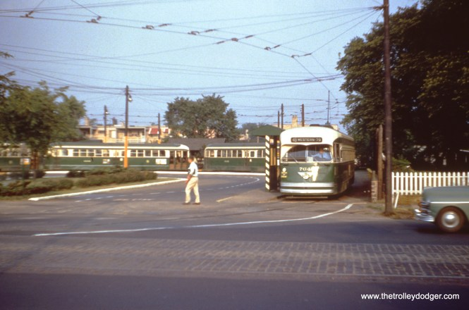 This and the next image: Joseph Canfield took this picture of CTA PCCs at Western and Berwyn, the north end of Route 49, on June 13, 1956, just a few days before buses replaced streetcars on this line.