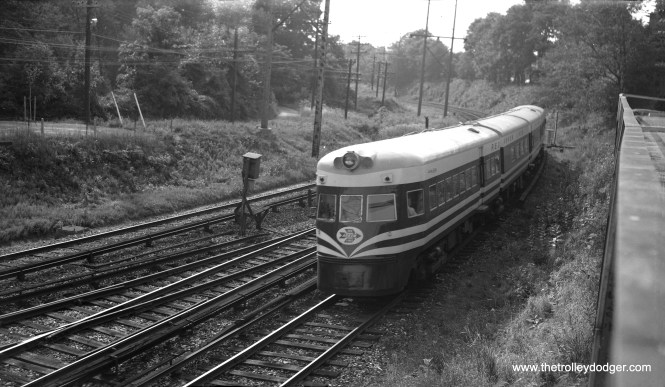 "After the North Shore Line abandonment in 1963, the two Electroliners were purchased by the Philadelphia Suburban Transportation Company (aka Red Arrow), for use on their 13-mile-long Norristown High Speed Line. Liberty Liner ""Valley Forge"" at Bryn Mawr in September 1964. (Richard S. Short Photo)"