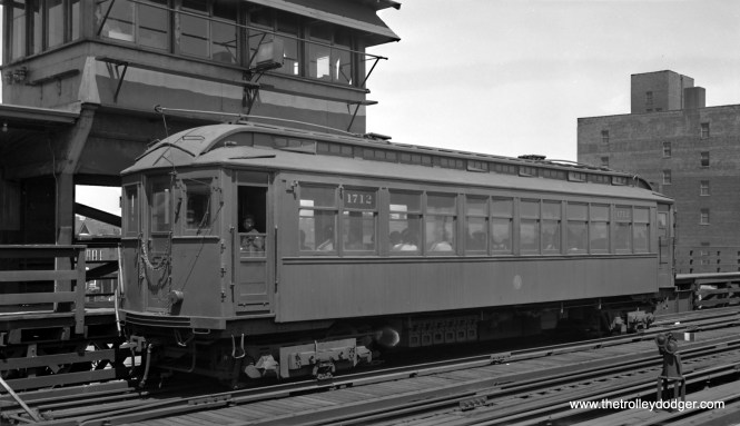 CTA wood car 1712 is a Kenwood shuttle train at the Indiana Avenue stub terminal, probably circa 1953. It was built by St. Louis Car Company in 1903 for the Northwestern Elevated Railroad. (Robert Selle Photo)