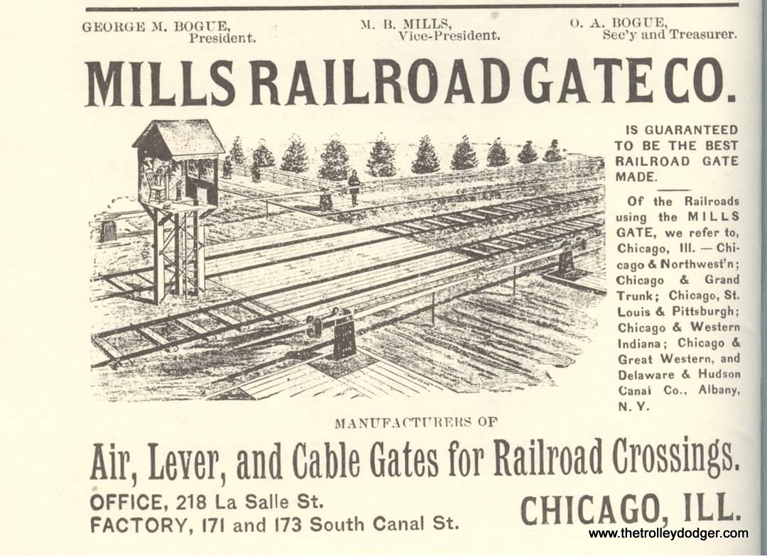 This type of tower was used to operate manually controlled gates at crossings. Chicago and Great Western, listed as a client, had tracks just north of the CA&E's in Maywood.