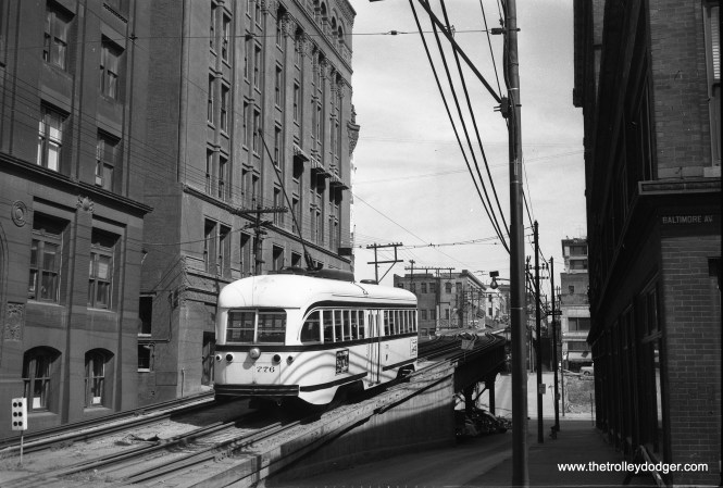 Kansas City had an elevated railway line that started out as a cable car line and eventually became part of their streetcar system. It lasted into the 1950s. The last Kansas City PCC ran in 1957, but a new 2.2 mile long modern streetcar line opened in 2016. Kansas City Public Service car 776 was built by St. Louis Car Company in 1946.