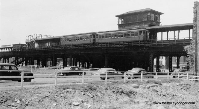 "An eastbound Garfield Park train at the Marshfield station in the early 1950s. Construction is already underway for the Congress Expressway that caused the ""L"" to be replaced by an expressway median route."