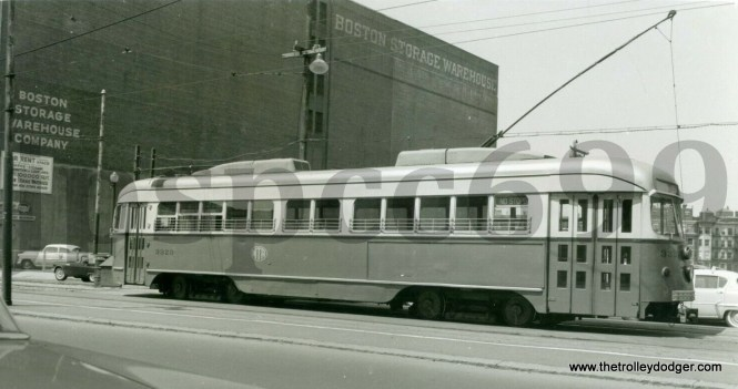 MTA 3323 is a double-ended PCC built by Pullman for the Dallas system in 1945. It was sold to Boston in 1959, as more cars were needed once the new Riverside line opened.