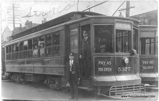 Chicago Surface Lines 5377 was built by Brill-Kuhlman in 1907. This photo postcard was purchased by Jeff Marinoff.