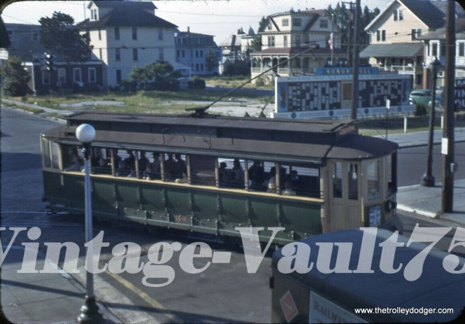 This Kodachrome slide is from 1943 and shows the Five Mile Beach Electric Railway in Wildwood, NJ, which converted to buses the following year. This is a resort town and business was hurt during the war, as there were nighttime blackouts.