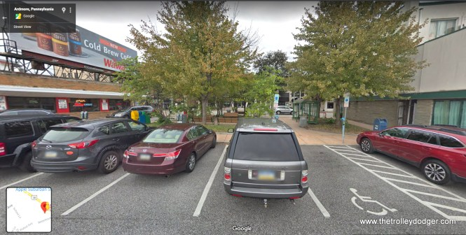 This is where the trolley line ended in Ardmore. It has been turned into a pocket park and parking lot.