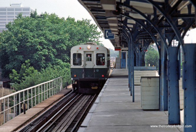 CTA 1-50 series Evanston Central Street Station 7-1981.