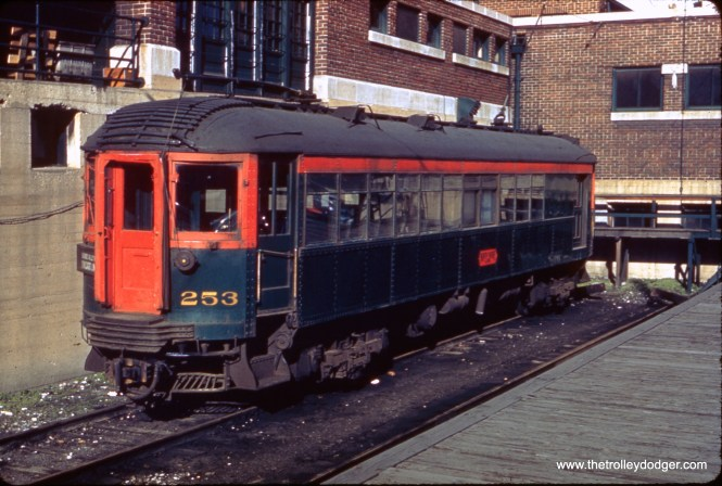 """North Shore Line 253 at the Milwaukee Terminal. Don's Rail Photos: """"253 was built by Jewett in 1917. It dropped seating to 28 on June 17, 1924, and was acquired by IRM in 1963."""""""