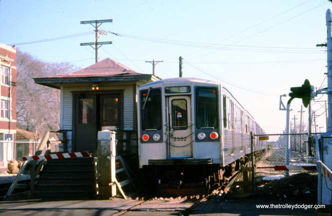 """CTA 2332 and train at Laramie on the Douglas Park """"L"""" (now the CTA Pink Line) on February 8, 1991. (Peter Ehrlich Photo, © 2020 Peter Ehrlich)"""