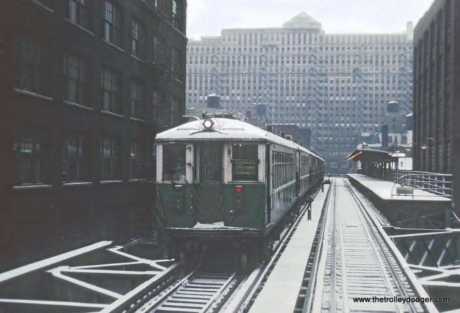 CTA 6-car 4000 series Ravenswood A train near Grand Ave. Station, Chicago, IL om February 2, 1968