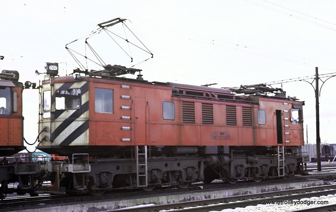 Chicago South Shore & South Bend 707 in Burnham Yard, January 1972