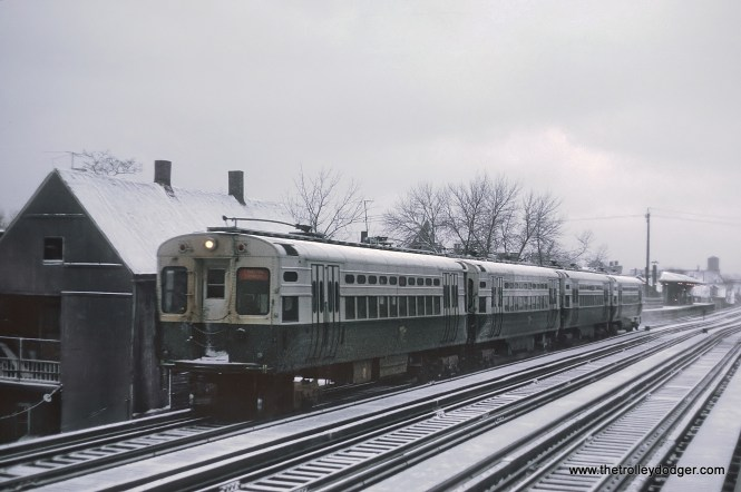 CTA Evanston Express near Wellington station, Chicago, IL in February, 1968