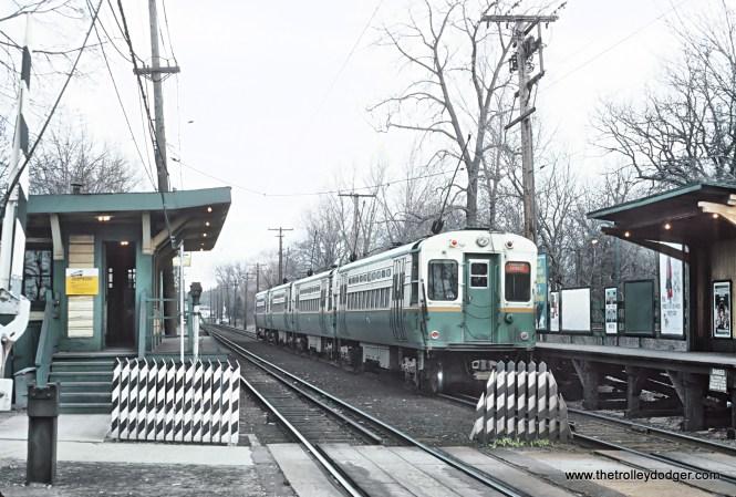 CTA 4-car Evanston Express leaving Isabella Ave. station, Wilmette, IL on April 12, 1966
