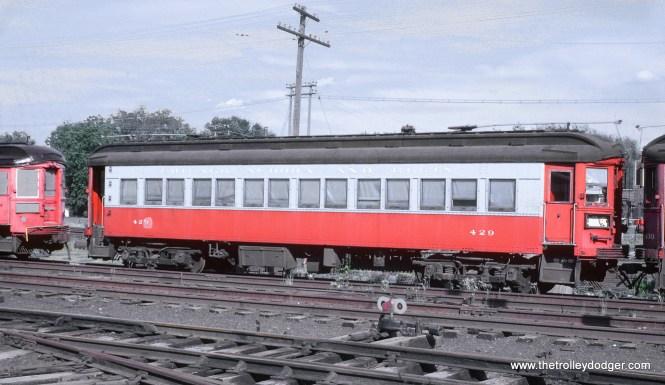 CA&E 429 stored at Wheaton, IL shops, April 25, 1962