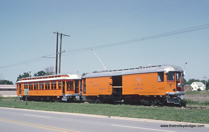 Roger Puta took these August 12 and 13 of 1967. Box Motor 31 (ex-Chicago, North Shore & Milwaukee) and Passenger Car 100 (ex-Waterloo, Cedar Falls and Northern Railway) near Mason City.
