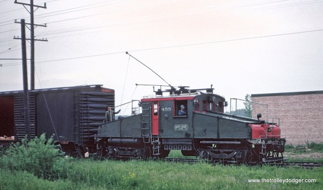 CNS&M way freight on the team track between Northfield and Northbrook, Illinois on May 26, 1962.